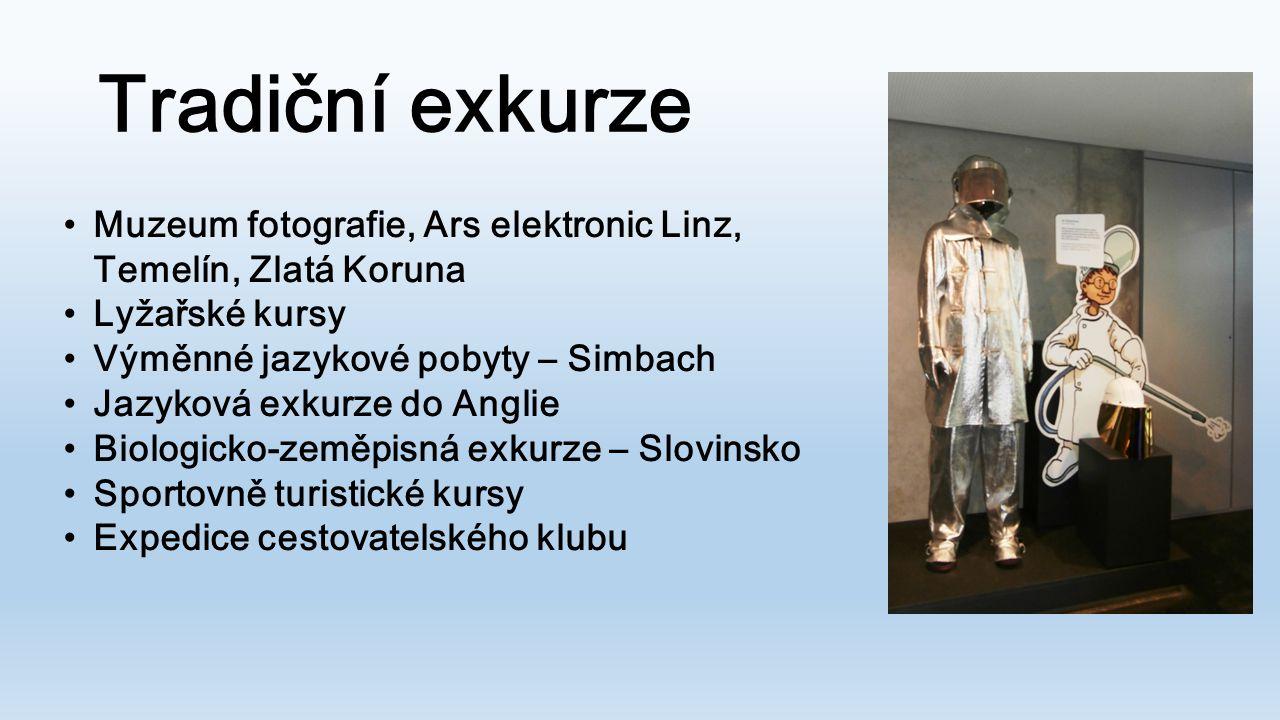 Tradiční exkurze •Muzeum fotografie, Ars elektronic Linz, Temelín, Zlatá Koruna •Lyžařské kursy •Výměnné jazykové pobyty – Simbach •Jazyková exkurze d