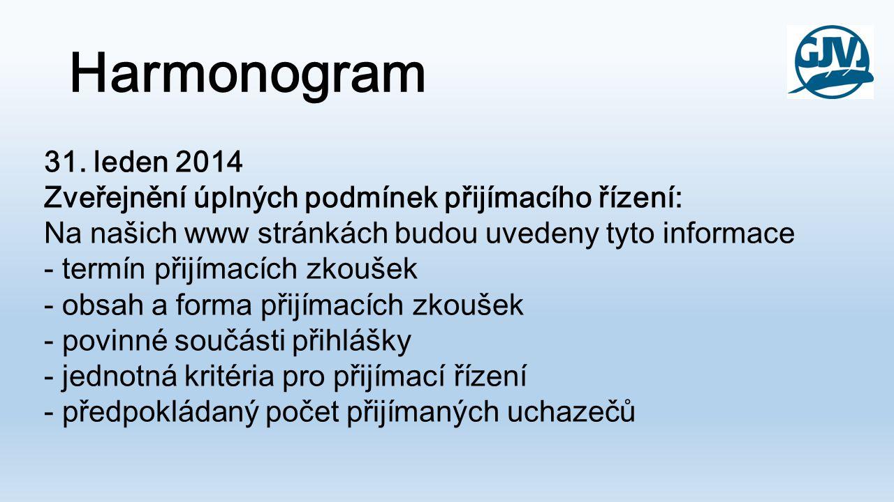 Harmonogram 31. leden 2014 Zveřejnění úplných podmínek přijímacího řízení: Na našich www stránkách budou uvedeny tyto informace - termín přijímacích z