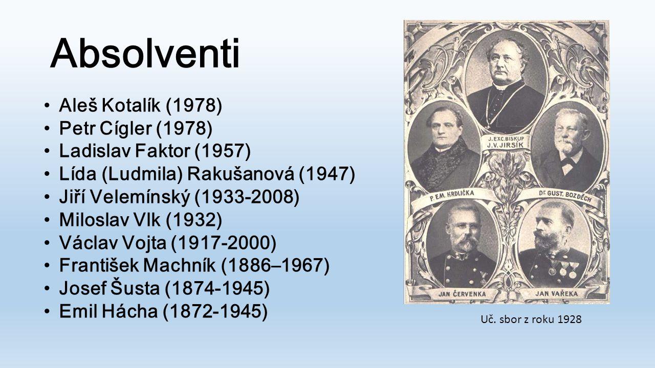 Absolventi •Aleš Kotalík (1978) •Petr Cígler (1978) •Ladislav Faktor (1957) •Lída (Ludmila) Rakušanová (1947) •Jiří Velemínský (1933-2008) •Miloslav V