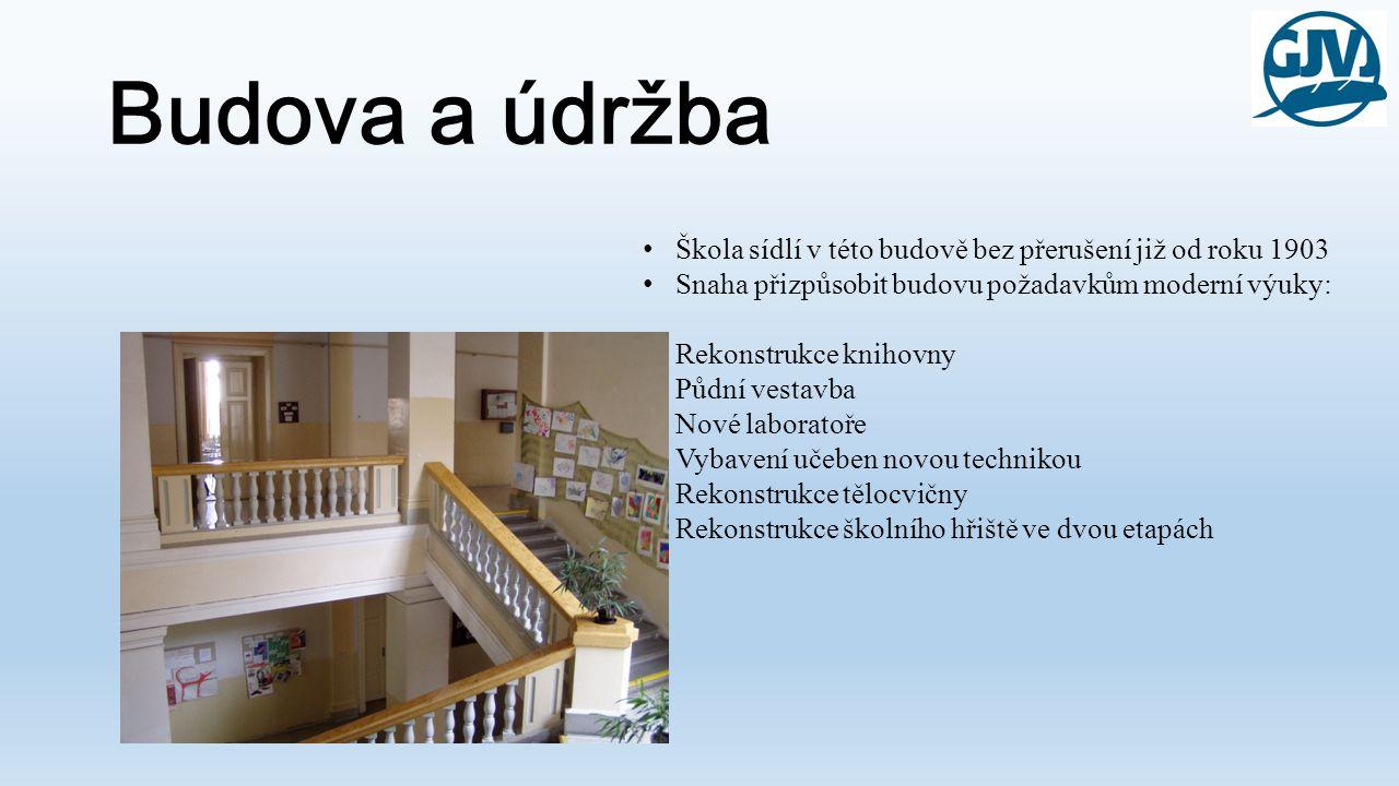 Budova a údržba • Škola sídlí v této budově bez přerušení již od roku 1903 • Snaha přizpůsobit budovu požadavkům moderní výuky: Rekonstrukce knihovny