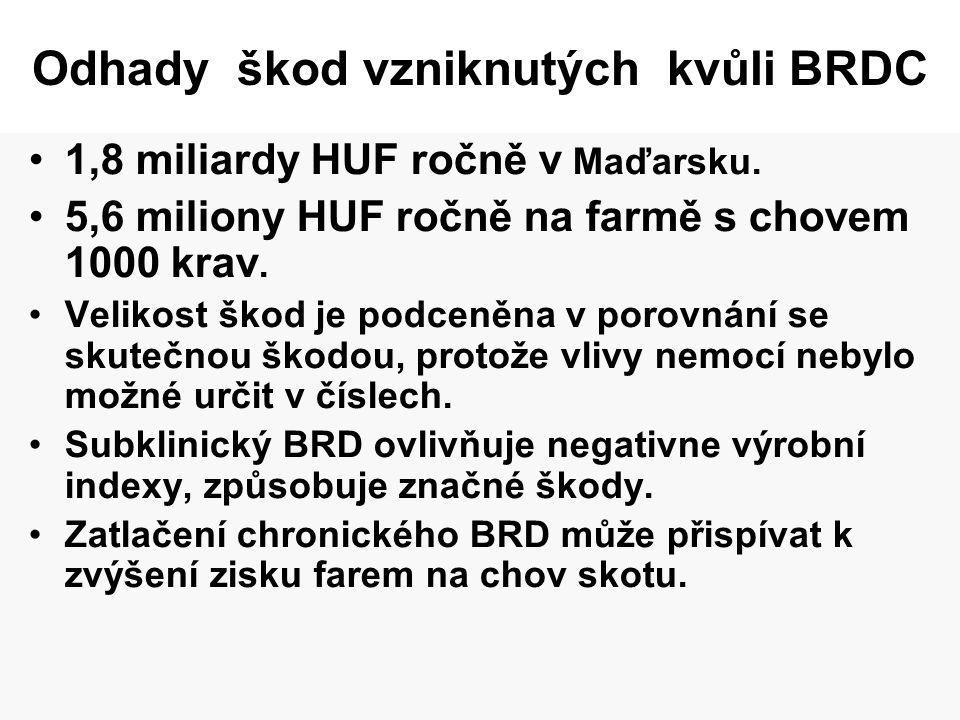 Odhady škod vzniknutých kvůli BRDC •1,8 miliardy HUF ročně v Maďarsku. •5,6 miliony HUF ročně na farmě s chovem 1000 krav. •Velikost škod je podceněna