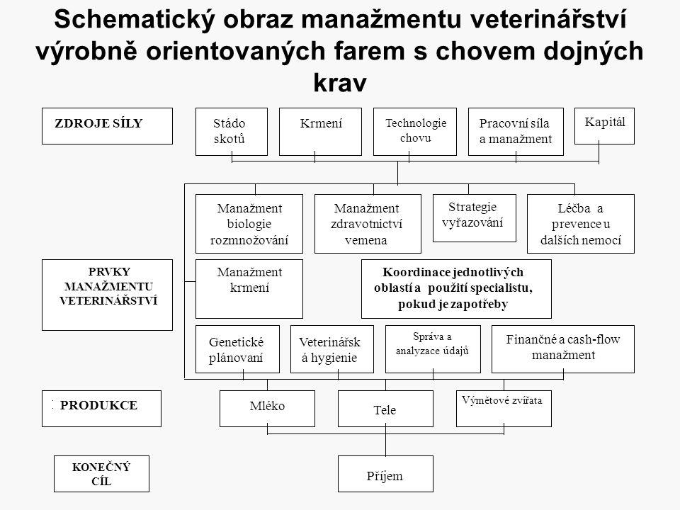 Schematický obraz manažmentu veterinářství výrobně orientovaných farem s chovem dojných krav ZDROJE SÍLYStádo skotů Krmení Technologie chovu Pracovní
