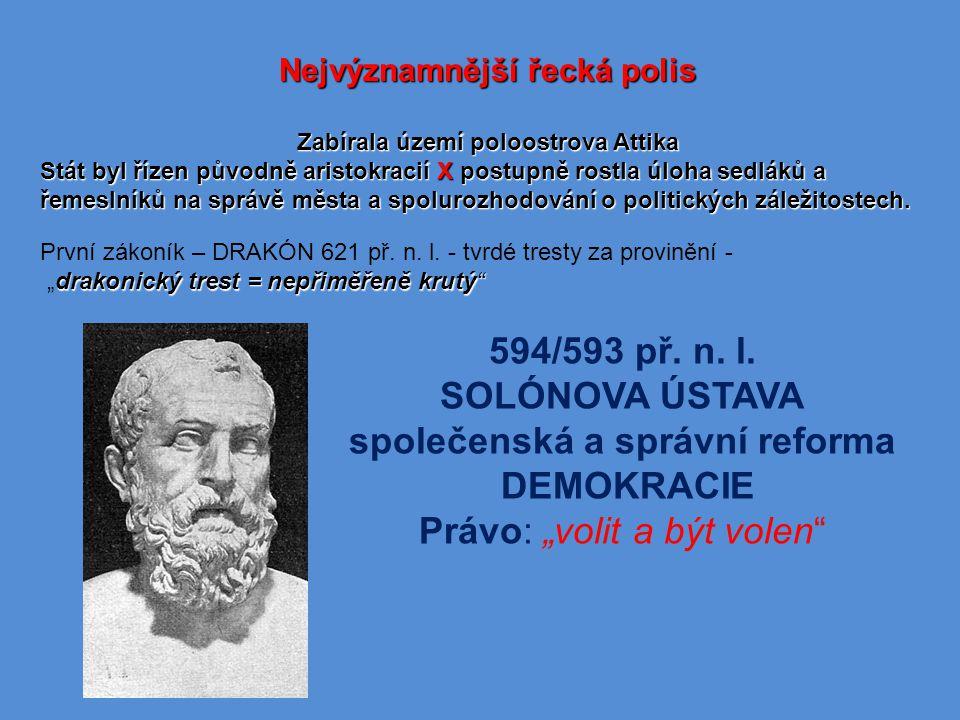 Nejvýznamnější řecká polis Zabírala území poloostrova Attika Stát byl řízen původně aristokracií X postupně rostla úloha sedláků a řemeslníků na správě města a spolurozhodování o politických záležitostech.