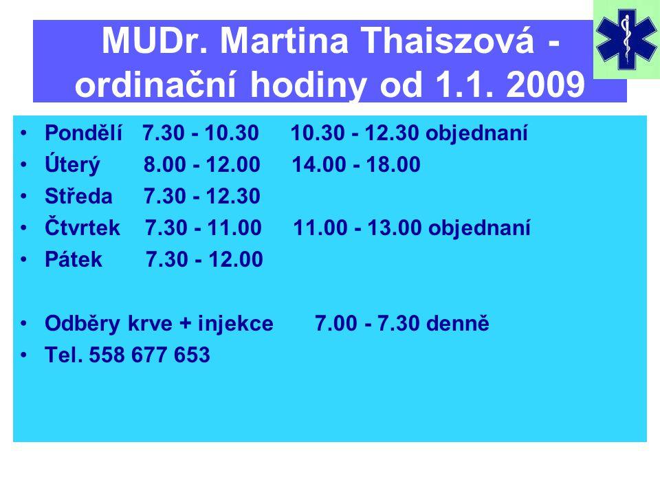 MUDr. Martina Thaiszová - ordinační hodiny od 1.1. 2009 •Pondělí 7.30 - 10.30 10.30 - 12.30 objednaní •Úterý 8.00 - 12.00 14.00 - 18.00 •Středa 7.30 -