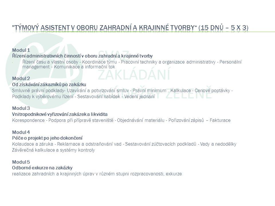 Modul 1 Řízení administrativních činností v oboru zahradní a krajinné tvorby - Řízení času a vlastní osoby - Koordinace týmu - Pracovní techniky a org