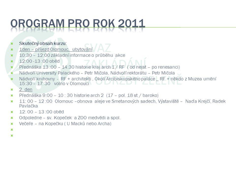  Skutečný obsah kurzu:  1den – příjezd Olomouc, ubytování  10:30 – 12:00 základní informace o průběhu akce  12:00 -13 :00 oběd  Přednáška 13 :00