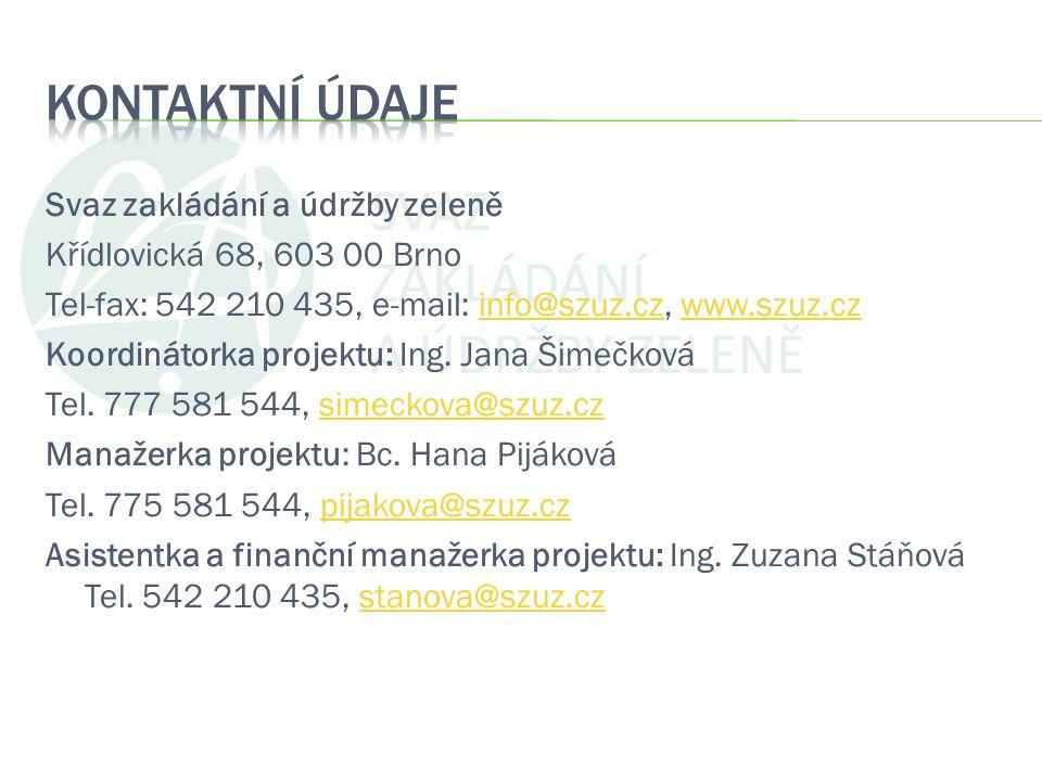 Svaz zakládání a údržby zeleně Křídlovická 68, 603 00 Brno Tel-fax: 542 210 435, e-mail: info@szuz.cz, www.szuz.czinfo@szuz.czwww.szuz.cz Koordinátork