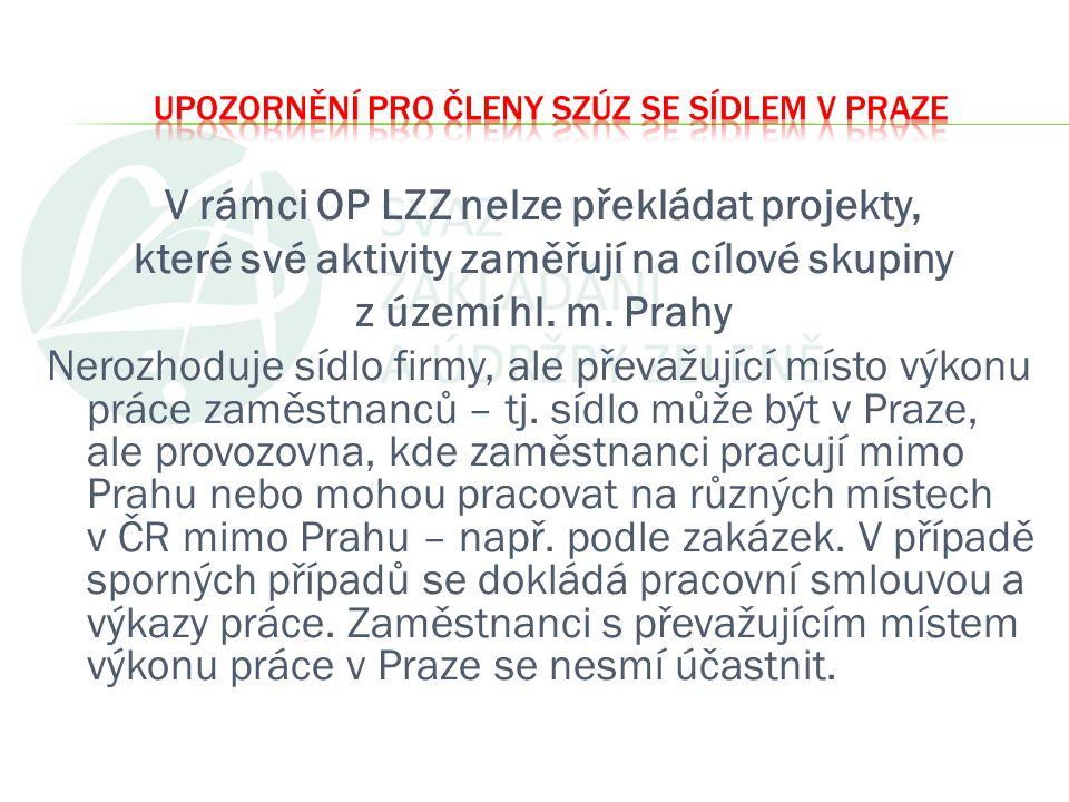 V rámci OP LZZ nelze překládat projekty, které své aktivity zaměřují na cílové skupiny z území hl. m. Prahy Nerozhoduje sídlo firmy, ale převažující m