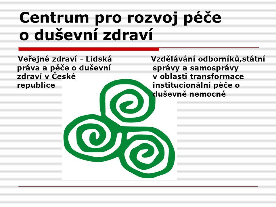 Centrum pro rozvoj péče o duševní zdraví Veřejné zdraví - Lidská práva a péče o duševní zdraví v České republice Vzdělávání odborníků,státní správy a samosprávy v oblasti transformace institucionální péče o duševně nemocné