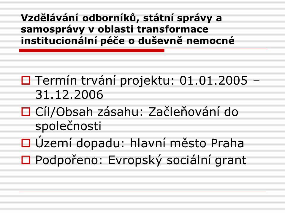  Termín trvání projektu: 01.01.2005 – 31.12.2006  Cíl/Obsah zásahu: Začleňování do společnosti  Území dopadu: hlavní město Praha  Podpořeno: Evropský sociální grant