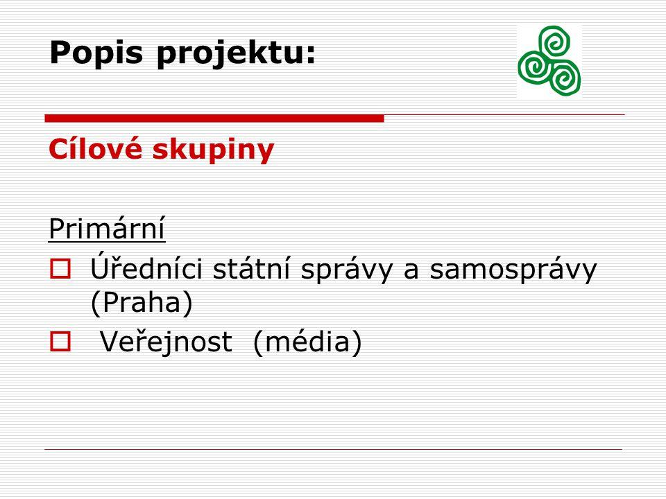 Popis projektu: Cílové skupiny Primární  Úředníci státní správy a samosprávy (Praha)  Veřejnost (média)