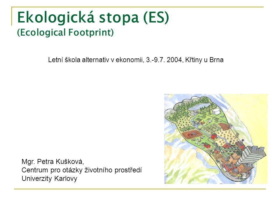 Definice  Plocha ekologicky produktivní země (a vody) potřebná k zajištění spotřebovaných zdrojů a vstřebání vzniklých odpadů populace/jedince, za používání běžných technologií.
