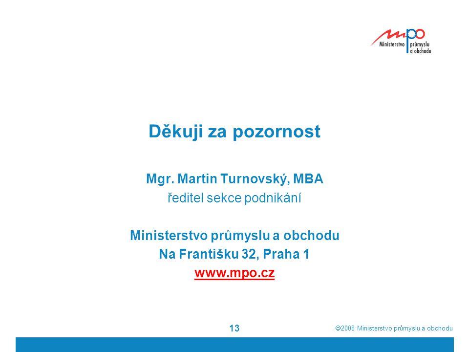  2008  Ministerstvo průmyslu a obchodu 13 Děkuji za pozornost Mgr.