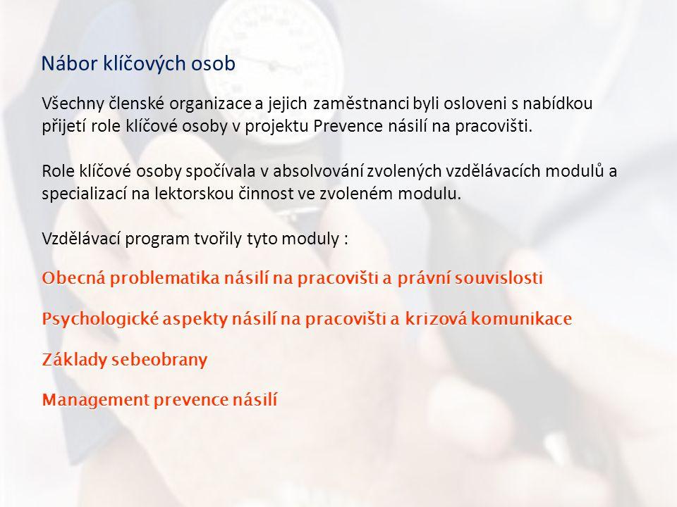 Nábor klíčových osob Všechny členské organizace a jejich zaměstnanci byli osloveni s nabídkou přijetí role klíčové osoby v projektu Prevence násilí na pracovišti.