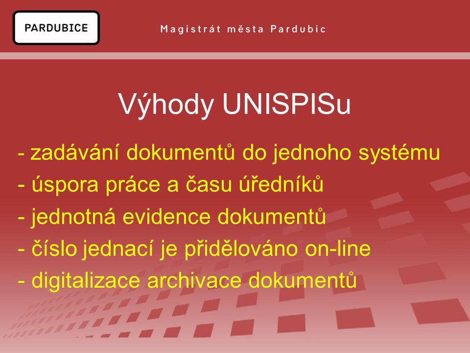 Výhody UNISPISu - zadávání dokumentů do jednoho systému - úspora práce a času úředníků - jednotná evidence dokumentů - číslo jednací je přidělováno on-line - digitalizace archivace dokumentů