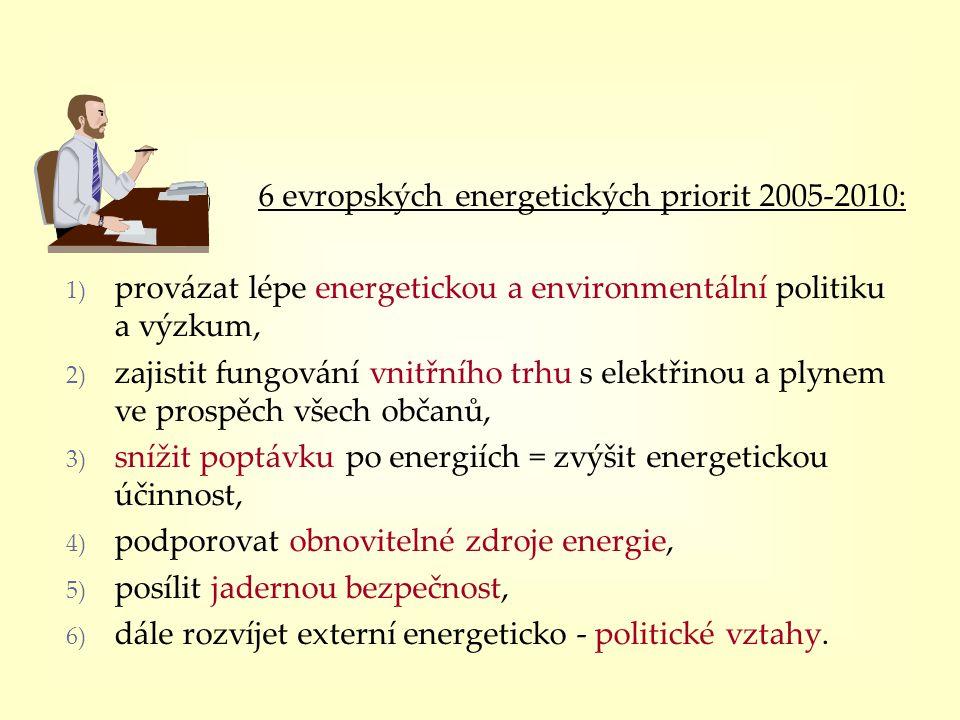6 evropských energetických priorit 2005-2010: 1) provázat lépe energetickou a environmentální politiku a výzkum, 2) zajistit fungování vnitřního trhu