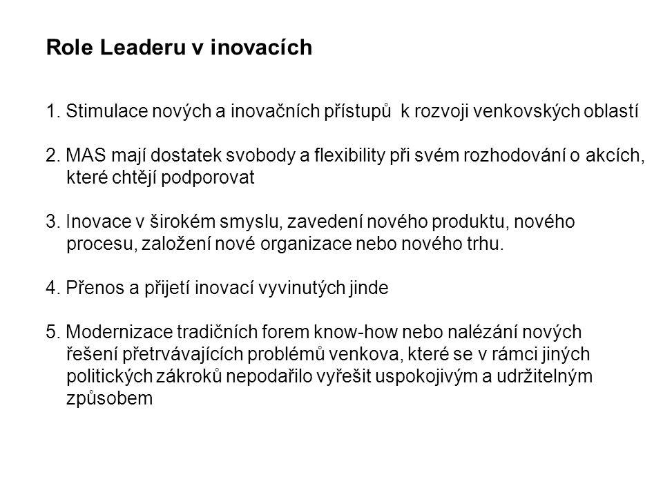 Role Leaderu v inovacích 1. Stimulace nových a inovačních přístupů k rozvoji venkovských oblastí 2.