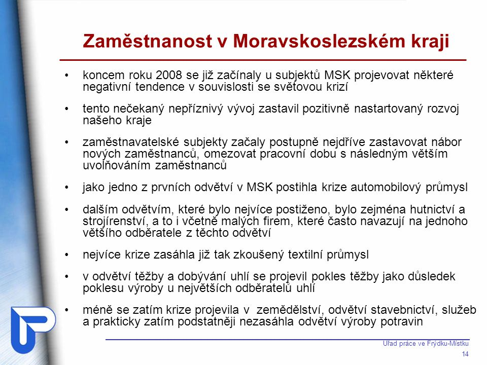 Úřad práce ve Frýdku-Místku 14 Zaměstnanost v Moravskoslezském kraji •koncem roku 2008 se již začínaly u subjektů MSK projevovat některé negativní ten