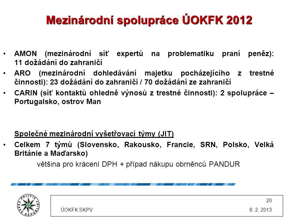 Mezinárodní spolupráce ÚOKFK 2012 •AMON (mezinárodní síť expertů na problematiku praní peněz): 11 dožádání do zahraničí •ARO (mezinárodní dohledávání