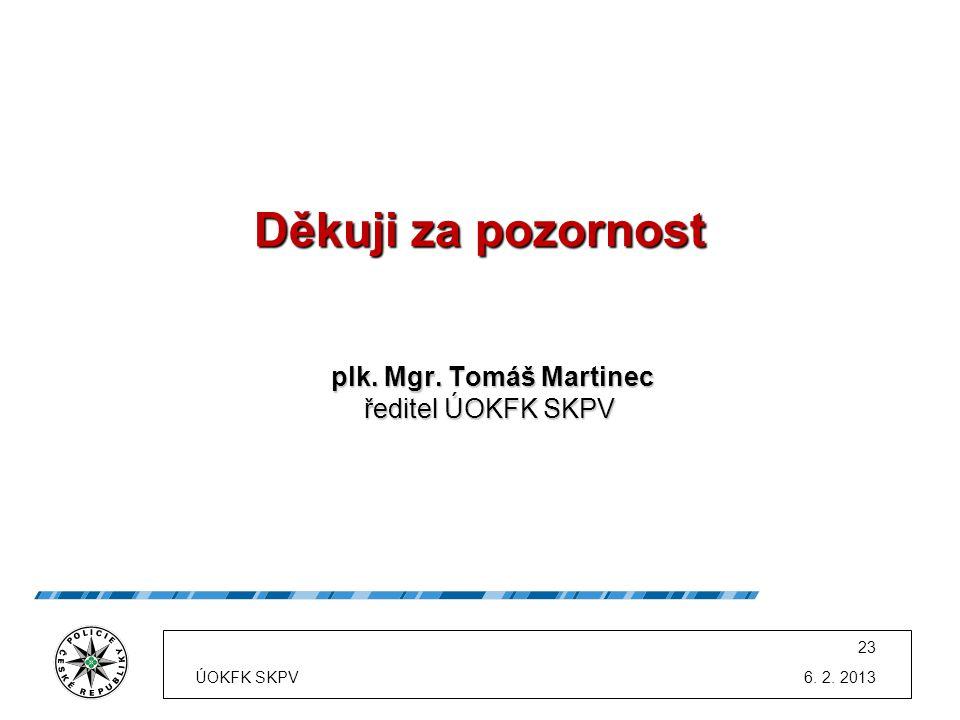 Děkuji za pozornost plk. Mgr. Tomáš Martinec plk. Mgr. Tomáš Martinec ředitel ÚOKFK SKPV ředitel ÚOKFK SKPV 6. 2. 2013 23 ÚOKFK SKPV