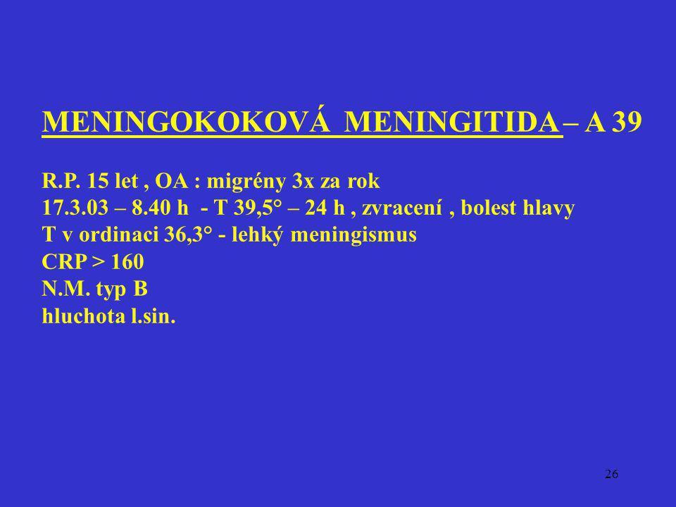 26 MENINGOKOKOVÁ MENINGITIDA – A 39 R.P. 15 let, OA : migrény 3x za rok 17.3.03 – 8.40 h - T 39,5° – 24 h, zvracení, bolest hlavy T v ordinaci 36,3° -