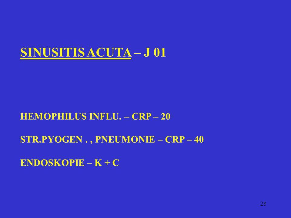 28 SINUSITIS ACUTA – J 01 HEMOPHILUS INFLU. – CRP – 20 STR.PYOGEN., PNEUMONIE – CRP – 40 ENDOSKOPIE – K + C