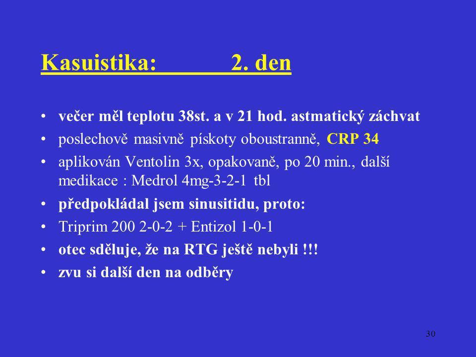 30 Kasuistika:2. den •večer měl teplotu 38st. a v 21 hod. astmatický záchvat •poslechově masivně pískoty oboustranně, CRP 34 •aplikován Ventolin 3x, o