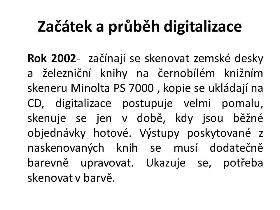 Začátek a průběh digitalizace Rok 2002- začínají se skenovat zemské desky a železniční knihy na černobílém knižním skeneru Minolta PS 7000, kopie se u