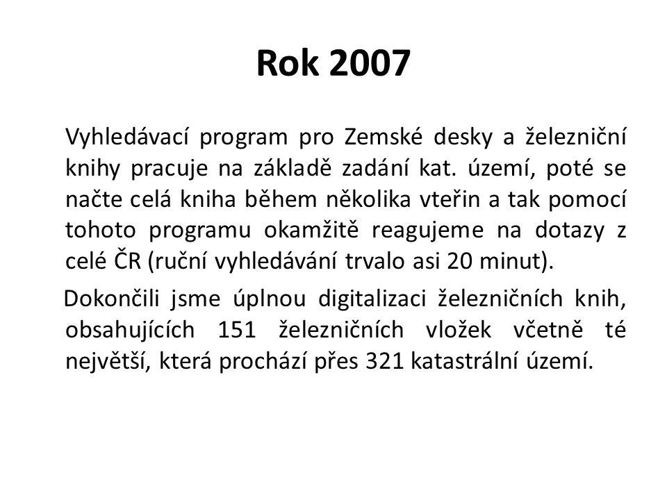 Rok 2007 Vyhledávací program pro Zemské desky a železniční knihy pracuje na základě zadání kat. území, poté se načte celá kniha během několika vteřin