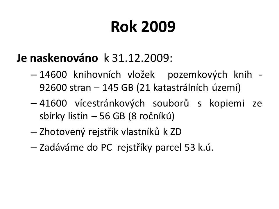 Rok 2009 Je naskenováno k 31.12.2009: – 14600 knihovních vložek pozemkových knih - 92600 stran – 145 GB (21 katastrálních území) – 41600 vícestránkový