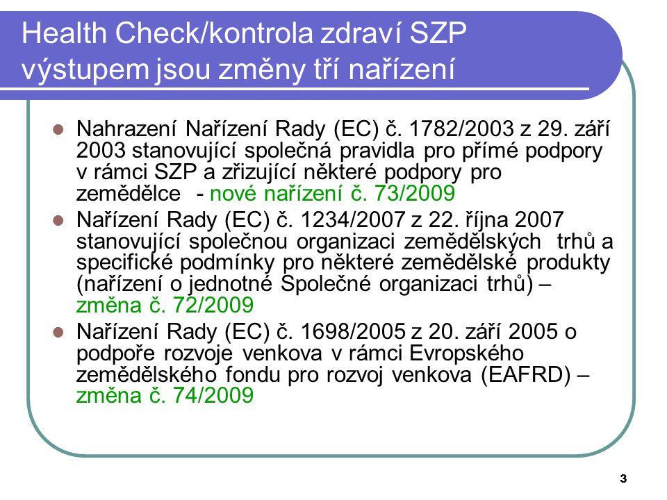 3 Health Check/kontrola zdraví SZP výstupem jsou změny tří nařízení  Nahrazení Nařízení Rady (EC) č. 1782/2003 z 29. září 2003 stanovující společná p