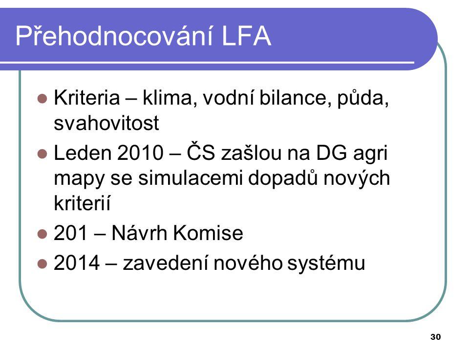 30 Přehodnocování LFA  Kriteria – klima, vodní bilance, půda, svahovitost  Leden 2010 – ČS zašlou na DG agri mapy se simulacemi dopadů nových kriterií  201 – Návrh Komise  2014 – zavedení nového systému