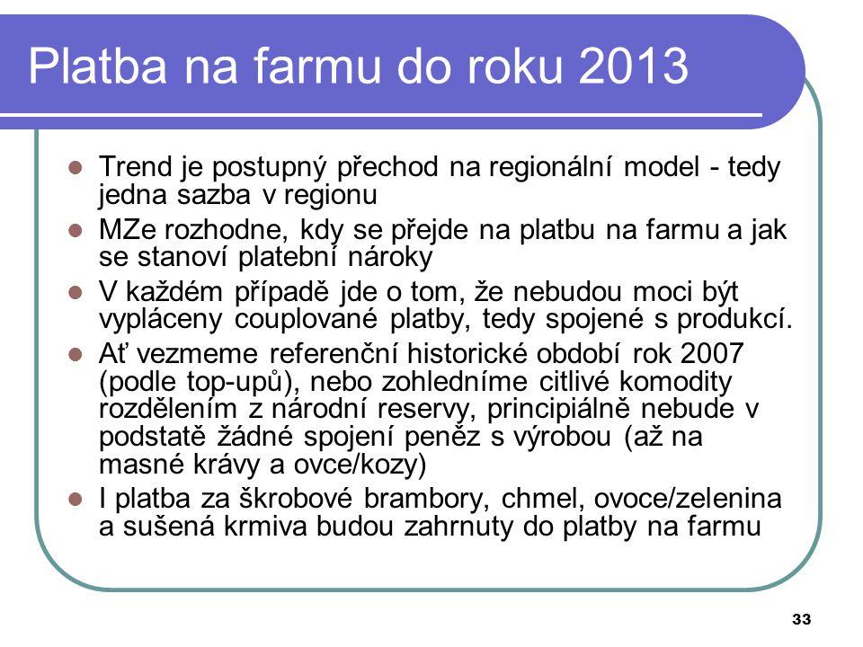 33 Platba na farmu do roku 2013  Trend je postupný přechod na regionální model - tedy jedna sazba v regionu  MZe rozhodne, kdy se přejde na platbu na farmu a jak se stanoví platební nároky  V každém případě jde o tom, že nebudou moci být vypláceny couplované platby, tedy spojené s produkcí.