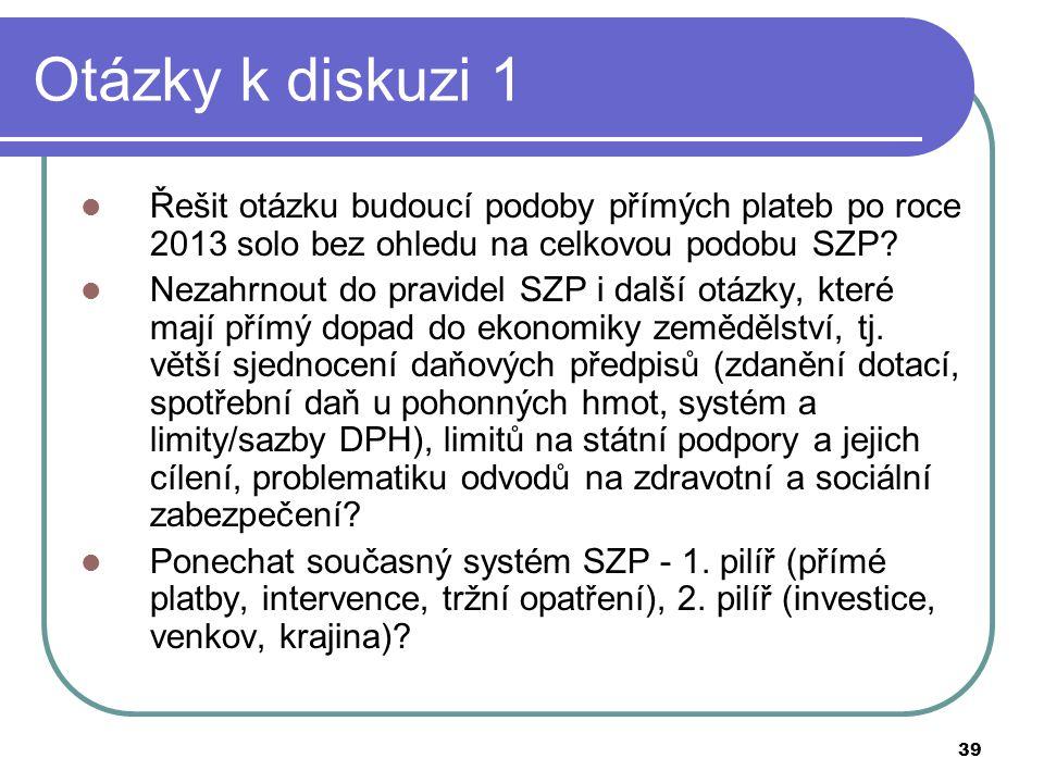 39 Otázky k diskuzi 1  Řešit otázku budoucí podoby přímých plateb po roce 2013 solo bez ohledu na celkovou podobu SZP?  Nezahrnout do pravidel SZP i