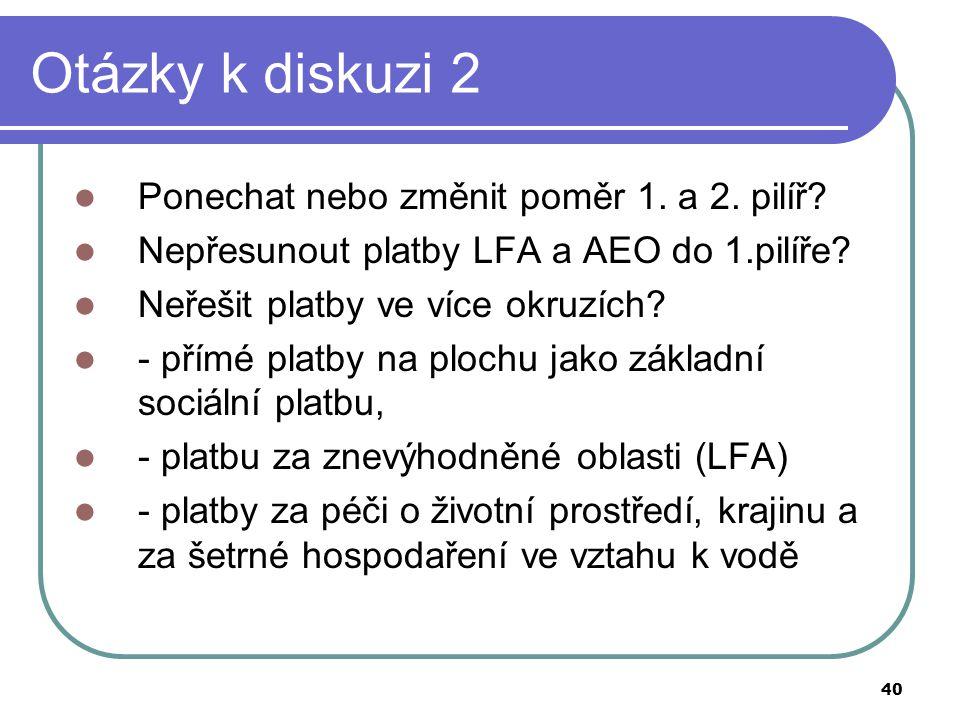 40 Otázky k diskuzi 2  Ponechat nebo změnit poměr 1. a 2. pilíř?  Nepřesunout platby LFA a AEO do 1.pilíře?  Neřešit platby ve více okruzích?  - p