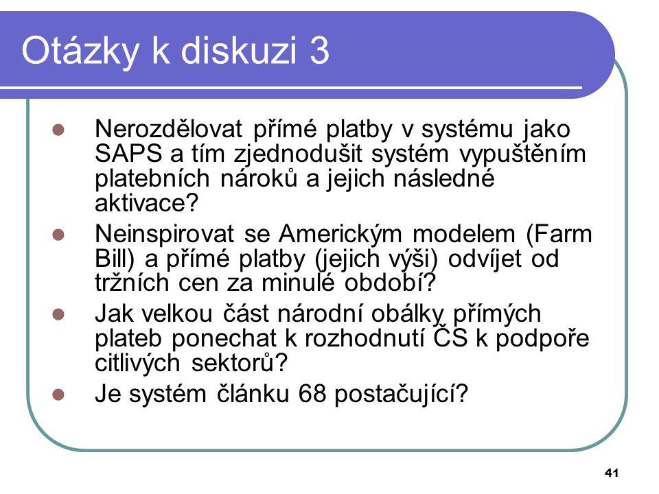 41 Otázky k diskuzi 3  Nerozdělovat přímé platby v systému jako SAPS a tím zjednodušit systém vypuštěním platebních nároků a jejich následné aktivace.