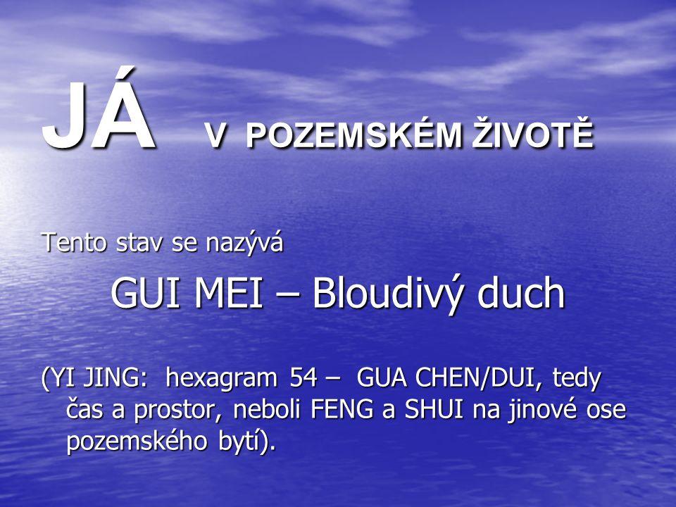 JÁ V POZEMSKÉM ŽIVOTĚ Tento stav se nazývá GUI MEI – Bloudivý duch (YI JING: hexagram 54 – GUA CHEN/DUI, tedy čas a prostor, neboli FENG a SHUI na jinové ose pozemského bytí).