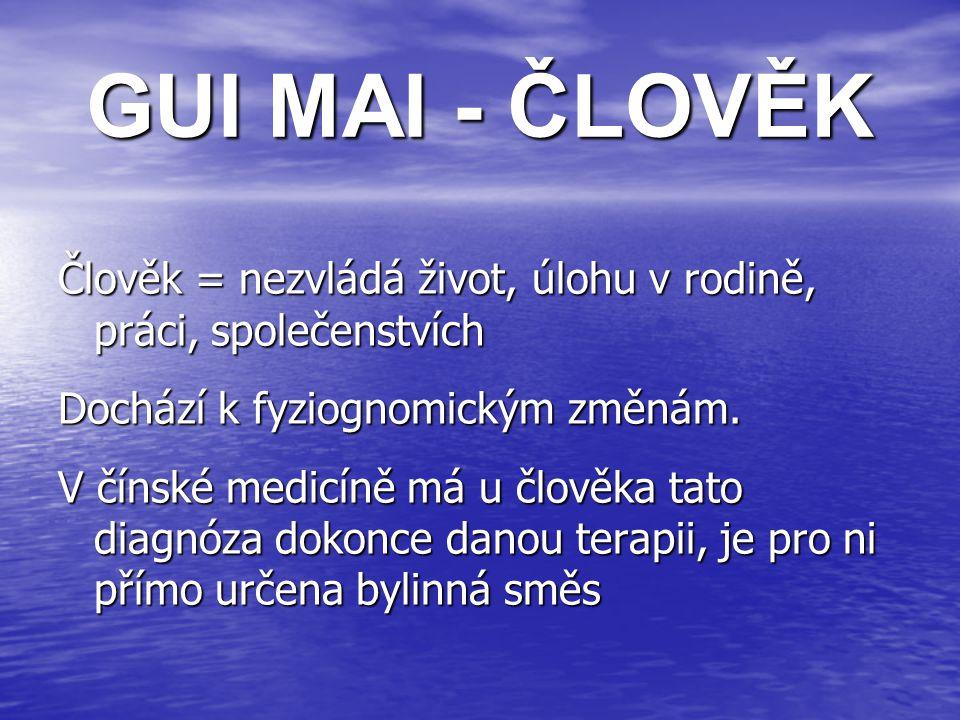 GUI MAI - ČLOVĚK Člověk = nezvládá život, úlohu v rodině, práci, společenstvích Dochází k fyziognomickým změnám.