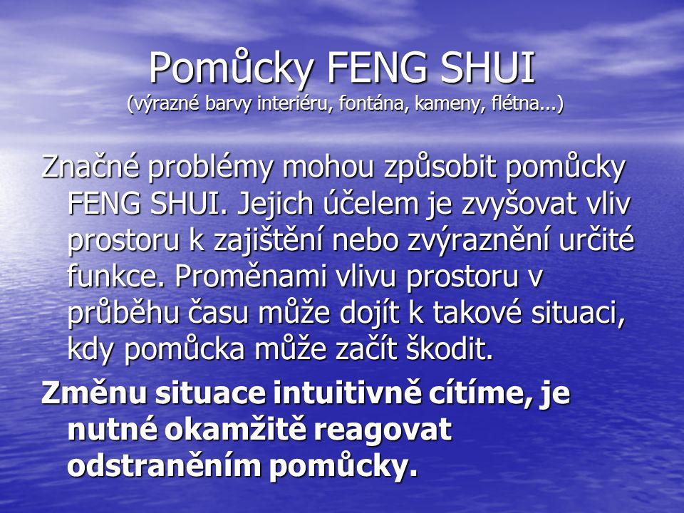 Pomůcky FENG SHUI (výrazné barvy interiéru, fontána, kameny, flétna...) Značné problémy mohou způsobit pomůcky FENG SHUI.
