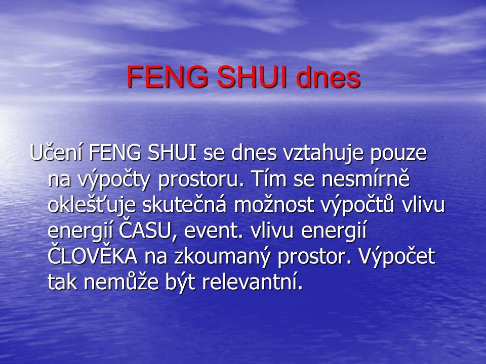 FENG SHUI Působením ČASU- dochází ke změně vlivu PROSTORU, určitých případech může být tento vliv přímo protikladný – otevření x uzavření.