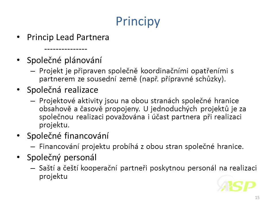 Principy • Princip Lead Partnera --------------- • Společné plánování – Projekt je připraven společně koordinačními opatřeními s partnerem ze sousední země (např.