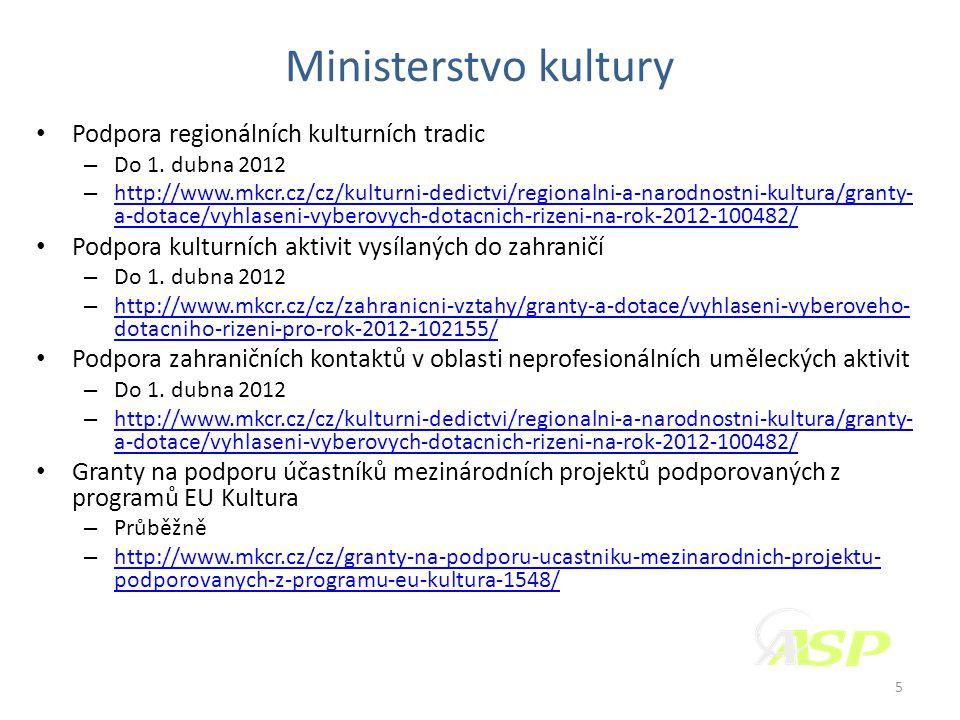 Ministerstvo kultury • Podpora regionálních kulturních tradic – Do 1.