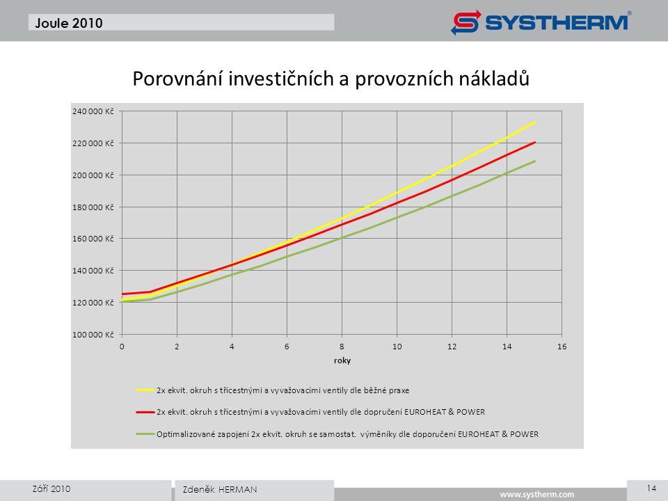 Joule 2010 Září 2010 14 Zdeněk HERMAN Porovnání investičních a provozních nákladů