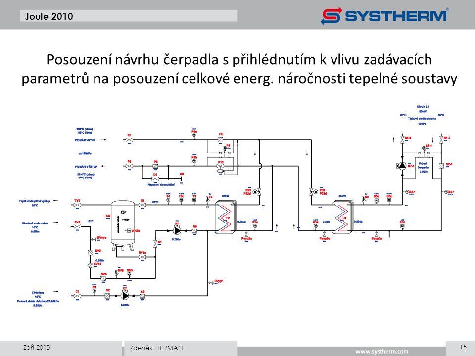 Joule 2010 Posouzení návrhu čerpadla s přihlédnutím k vlivu zadávacích parametrů na posouzení celkové energ. náročnosti tepelné soustavy Září 2010 15