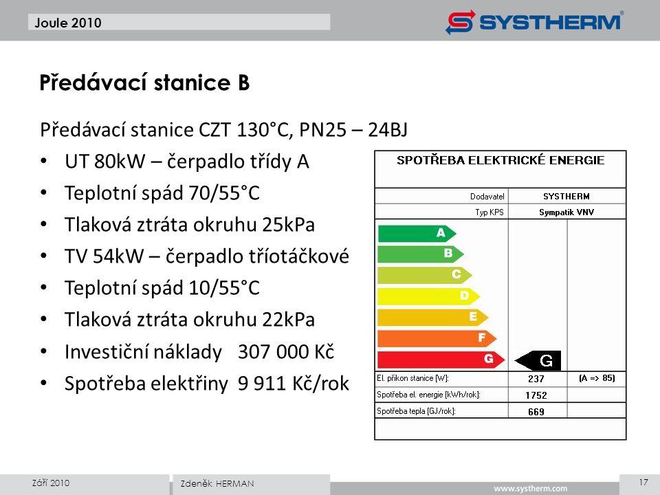 Joule 2010 Předávací stanice CZT 130°C, PN25 – 24BJ • UT 80kW – čerpadlo třídy A • Teplotní spád 70/55°C • Tlaková ztráta okruhu 25kPa • TV 54kW – čer