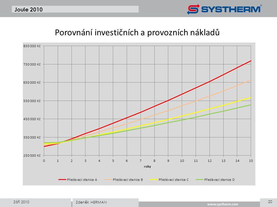 Porovnání investičních a provozních nákladů Joule 2010 Září 2010 20 Zdeněk HERMAN