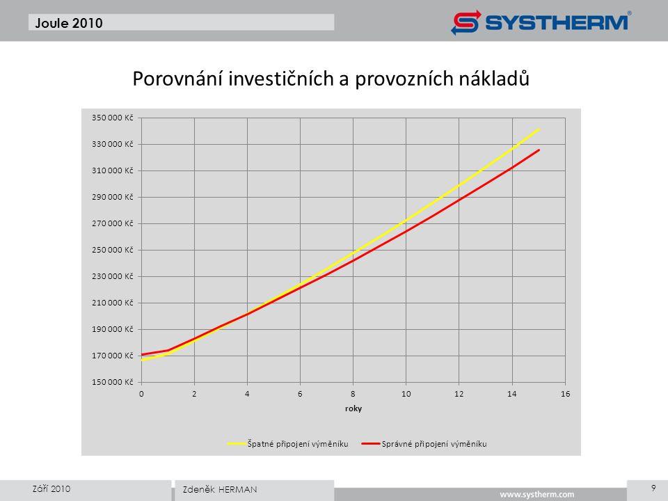 Joule 2010 Září 2010 9 Zdeněk HERMAN Porovnání investičních a provozních nákladů