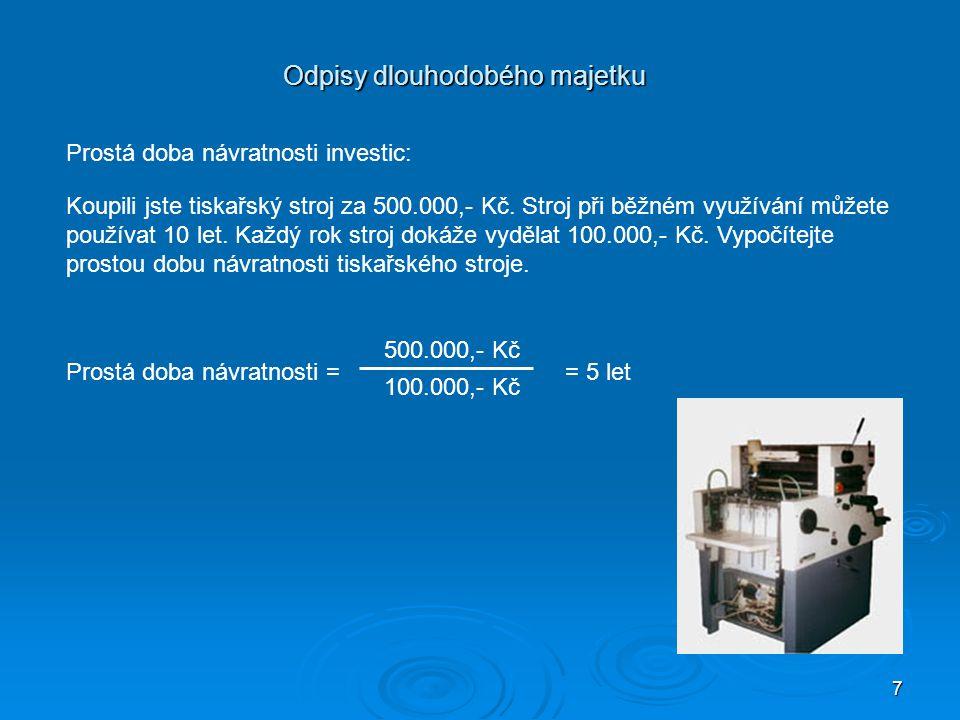 7 Odpisy dlouhodobého majetku Prostá doba návratnosti investic: Koupili jste tiskařský stroj za 500.000,- Kč. Stroj při běžném využívání můžete použív