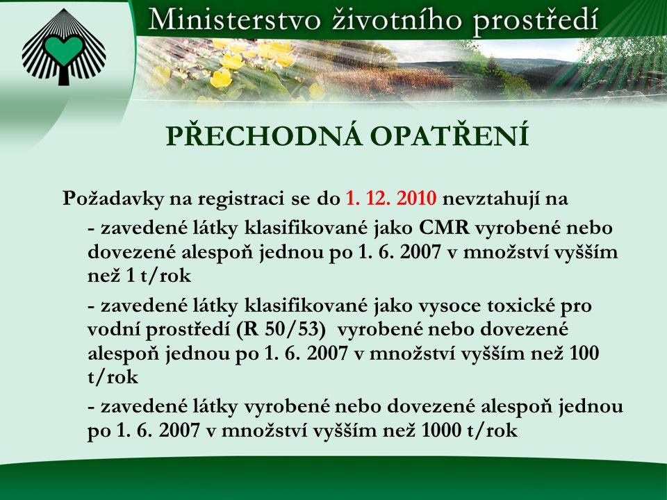 PŘECHODNÁ OPATŘENÍ Požadavky na registraci se do 1.