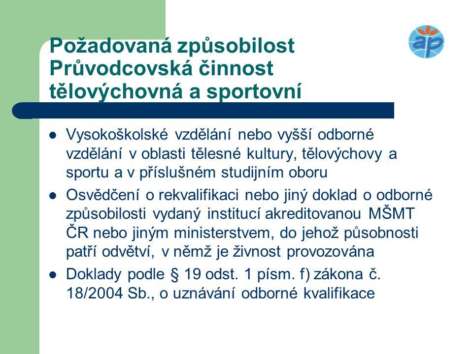 Požadovaná způsobilost Průvodcovská činnost tělovýchovná a sportovní  Vysokoškolské vzdělání nebo vyšší odborné vzdělání v oblasti tělesné kultury, t